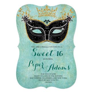 "Sweet 16 Masquerade Gold Glitter and Aqua 5"" X 7"" Invitation Card"