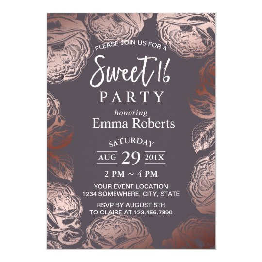 Sweet 16 Modern Rose Gold Floral Elegant Purple Card