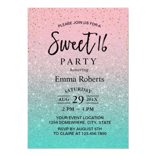 Sweet 16 Modern Silver Glitter Birthday Card