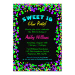 "Sweet 16 Neon Glow Confetti Birthday Party 5"" X 7"" Invitation Card"