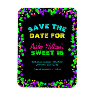 Sweet 16 Neon Glow Confetti Save the Date Magnet