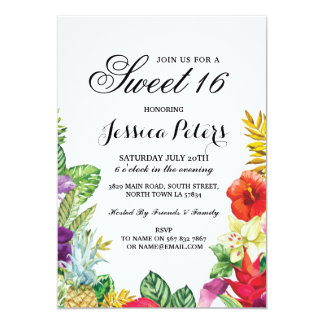 Sweet 16 Party Aloha Tropical Luau Tiki Invite