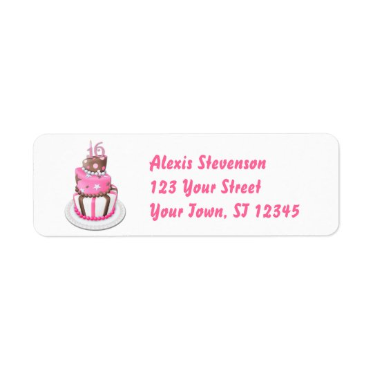 Sweet 16 Party Cake Return Address Label
