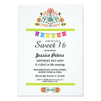 Sweet 16 Party Floral Fiesta Mexican Brithday Card