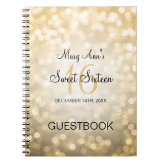 Sweet 16 Party Guestbook Gold Glitter Lights Spiral Notebooks
