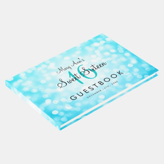 Sweet 16 Party Guestbook Turquoise Glitter Lights