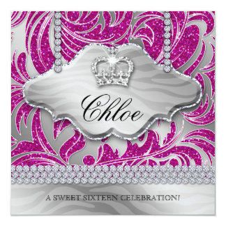Sweet 16 Party Invite Pink Crown Jewelry Leaves