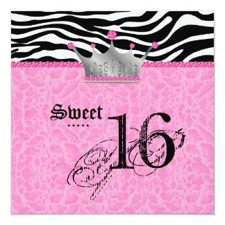 Sweet 16 Party leopard Zebra Lace Crown Invitation
