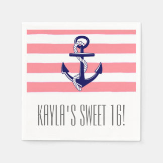 Sweet 16 Party Paper Napkins | Pink Nautical