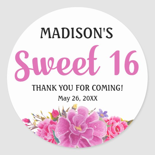 Sweet 16 Party Personalized Thank You Sticker