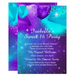 Teal And Silver Sweet 16 Invitations