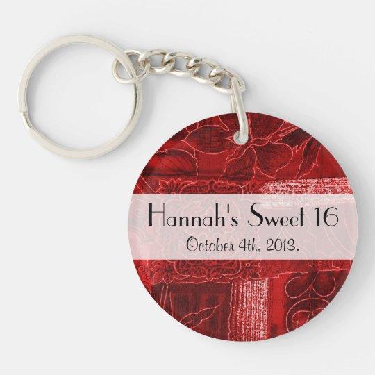 Sweet 16 - Patchwork, Flowers, Swirls - Red Double-Sided Round Acrylic Keychain