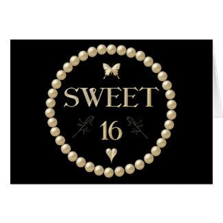 "Sweet 16 - Pearls on black ""velvet"" Greeting Card"