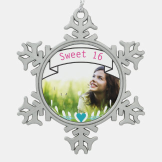 Sweet 16 Personalized Photo Typography Banner Snowflake Pewter Christmas Ornament