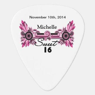 Sweet 16 Pink Black Scrolls & Swirls Name Date Guitar Pick