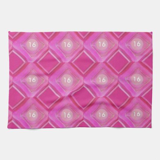 Sweet 16, Pink Diamonds Number Kitchen Towel