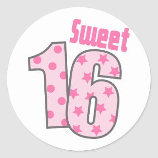 Sweet 16 (Pink Dots And Stars) Classic Round Sticker