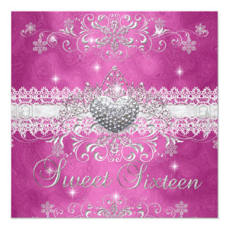 Sweet 16 Pink Glitter Tiara Lace Heart Card