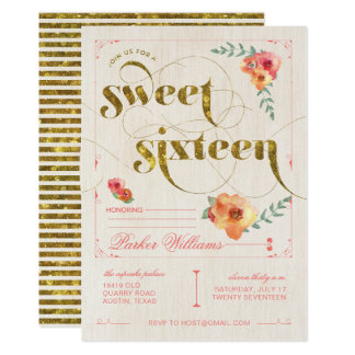 Sweet 16 Pink & Gold Birthday Party Invitations