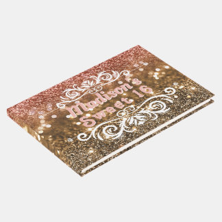 Sweet 16 Pink Gold Glitter Bokeh Custom Guest Book