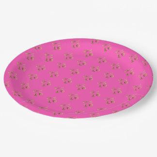 Sweet 16 Pink Gold Look Typography Elegant Paper Plate