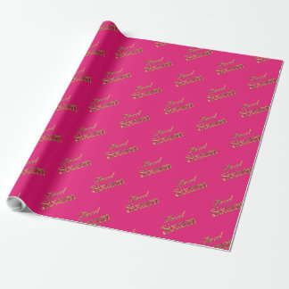 Sweet 16 Pink Gold Typography Pattern Elegant Wrapping Paper