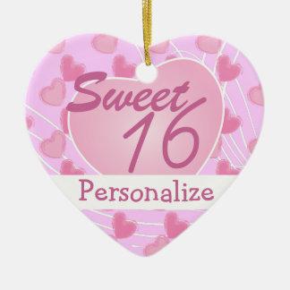 Sweet 16 Pink Heart Ceramic Heart Ornament