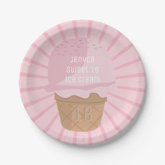 Sweet 16 Pink Ice Cream Birthday Party Paper Plate 7 Inch Paper Plate