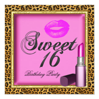 "Sweet 16 Pink Lips Lipstick Leopard Gold 5.25"" Square Invitation Card"