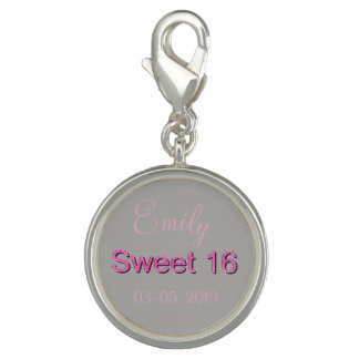 Sweet 16 Pink Number Sixteen 16th Birthday Photo Charm