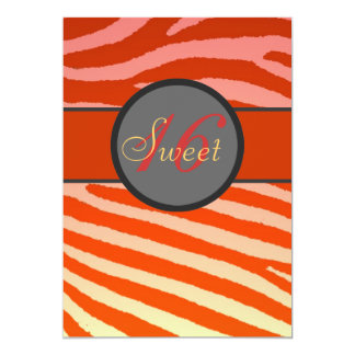 Sweet 16 pink orange zebra stripe birthday invites