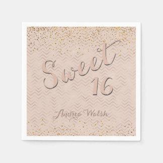 Sweet 16 Pink Rose Gold Chevrons | Sweet Sixteen Napkin