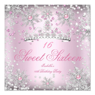 "Sweet 16 Pink Snowflakes White Winter Wonderland 5.25"" Square Invitation Card"