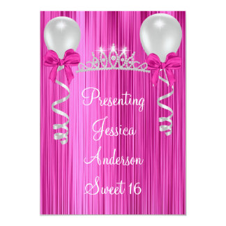 Sweet 16 Pink White Silver Jewel Tiara Formal Card