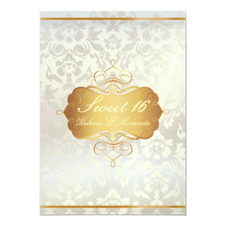 Sweet 16/ princess/pearl damask card