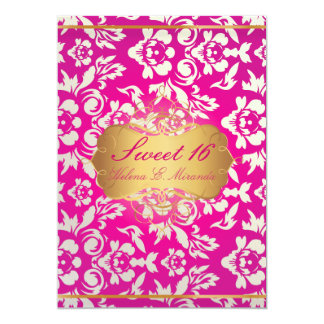 Sweet 16/ princess/pearl damask/pink card
