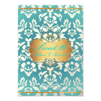 Sweet 16/ princess/pearl damask/teal card