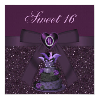 Sweet 16 Purple Diva Cake & Jewel Heart Invites