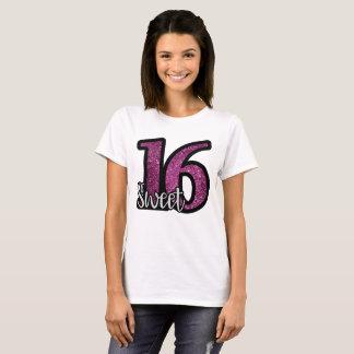 Sweet 16 Purple Faux Glitter Birthday Text T-Shirt