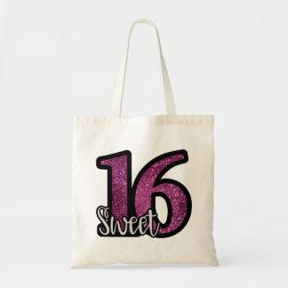 Sweet 16 Purple Faux Glitter Birthday Text Tote Bag
