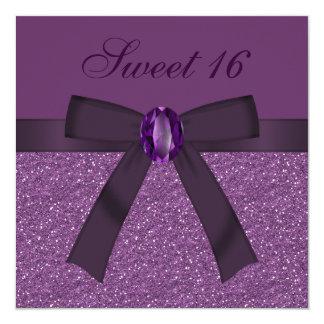 Sweet 16 Purple Glitter, Bow & Amethyst Invites