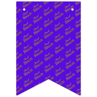 Sweet 16 Purple Gold Typography Pattern Elegant Bunting Flags