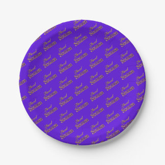 Sweet 16 Purple Gold Typography Pattern Elegant Paper Plate