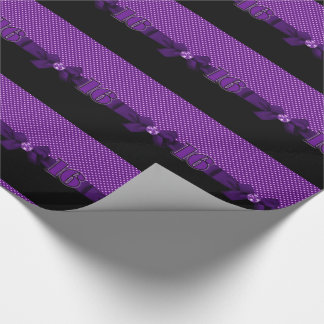 Sweet 16 Purple Polka Dots with Ribbons and Black Wrapping Paper