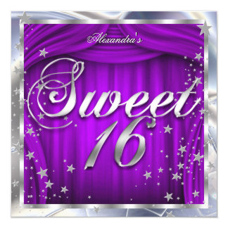 "Sweet 16 Purple Silver 16th Birthday Party 5.25"" Square Invitation Card"