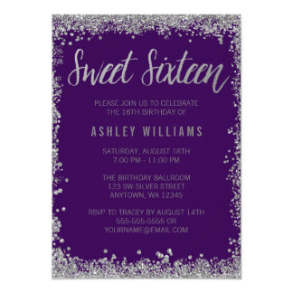 "Sweet 16 Purple Silver Faux Glitter Birthday 5"" X 7"" Invitation Card"