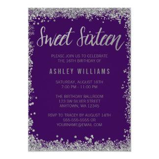"Sweet 16 Purple Silver Faux Glitter Birthday 5"" X 7"" Invitation Card"
