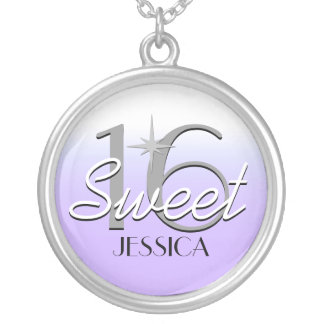 Sweet 16 Purple Sparkle Personalized Silver Plated Necklace