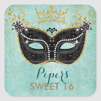 Sweet 16 Quinceanera Masquerade favor stickers