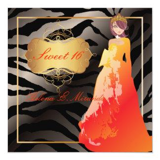 Sweet 16/ Quinceañera/Quince años/zebra stripes Card
